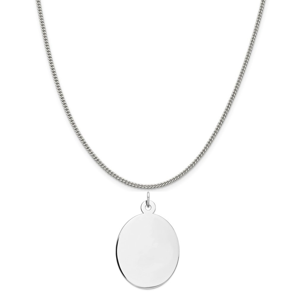 16-20 Mireval Sterling Silver Engravable Oval Disc Charm on a Sterling Silver Chain Necklace