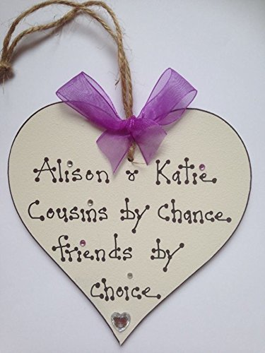 Cousins Friends Personalised Wooden Plaque Heart Handpainted Gift