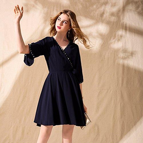 Summer for Short cotyledon Waist A Neck Half Women V line Dresses Dresses High Sleeve Black 4SfSqdw