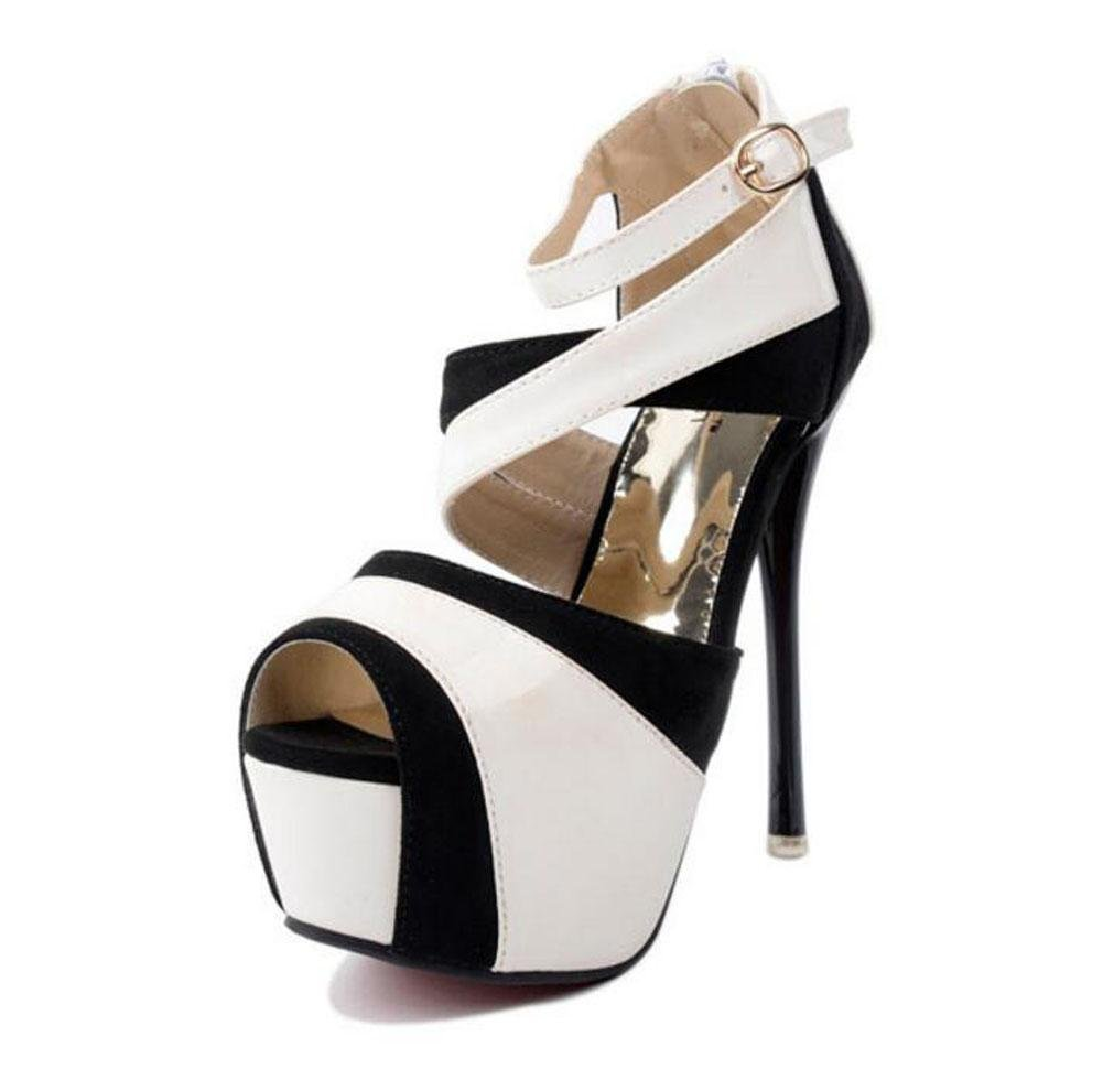 GLTER Mujeres Ankle Strap Corte Zapatos Verano Color Lucha De Tacón Alto Zapatos Sandalias Pie Era Delgado Peep Toe Hollow Shoes Bombas , white , 39 39|white