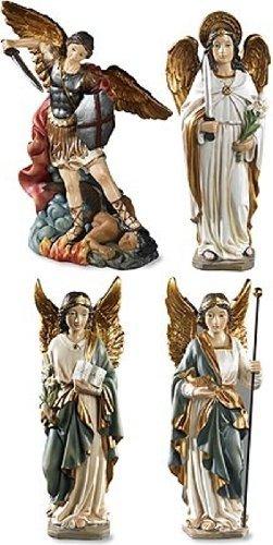 Archangel Saint St Michael Gabriel Uriel Raphael Figurines 4 Piece Statue SET Chapel Decoration - Religious Angel Figures
