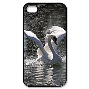 QSWHXN Customized Print Swan Pattern Back Case for iPhone 4/4S