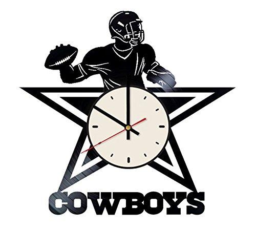 Dallas Cowboys Football Team vinyl wall clock - handmade artwork home bedroom living kids room nursery wall decor great gifts idea for birthday, wedding, anniversary - customize your (White/Black) by STP Cat