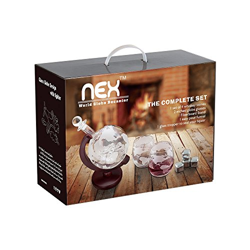 NEX Liquor Decanter with Glass Airplane 1500ml Globe Decanter for Spirits Scotch Bourbon Vodka Rum Wine Tequila Brandy Whiskey Gifts by NEX (Image #4)