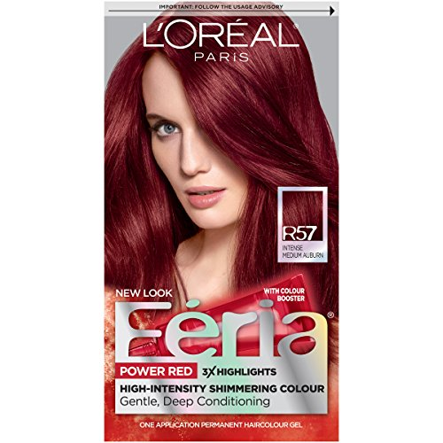 Feria Power Reds Hair Color, R57 Intense Medium Auburn (Packaging May Vary)