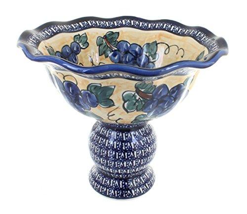 OKSLO Polish pottery grapes fruit bowl pedestal with cobalt rim ()