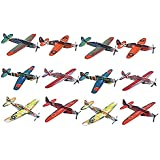 Flying Glider Planes - Toy for Party, Kids & All Ages - Hand Launch - Easy Assembly - Styrofoam Assorted, 8 Inch (Set of 12) - by Kidsco