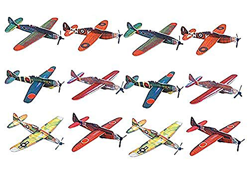 Kidsco Flying Glider Planes - Toy for Party, Kids & All Ages - Hand Launch - Easy Assembly - Styrofoam Assorted, 8 Inch (Set of 12)