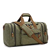Plambag Expandable Canvas Holdall Bag for Men, 40L / 50L Large Duffel Bag for Men with Multi-pockets, Overnight Weekend…