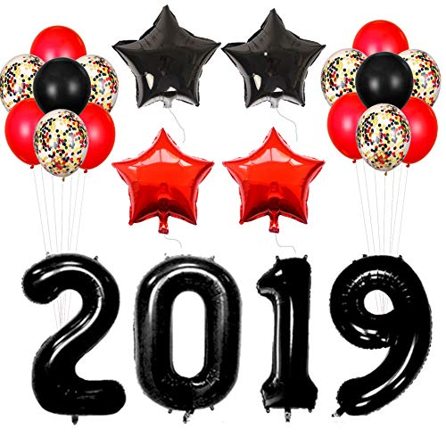 2019 Balloons for Party, Black Balloons 2019| 2019 Balloons Decorations Banner |Black Red Latex Balloon| Confetti Balloon |New Years Eve Party Supplies 2019