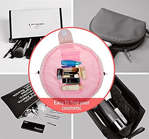 Drawstring Cosmetic Bag Travel Lazy Makeup Storage Bag Toiletry Bags Portable&Waterproof Quick Pack Large Cosmetic Bag Dual Magic Bags with Zipper&Drawstrings (Pink Stripe) by OTHEWELL (Image #4)
