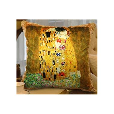 FablegentXH3003 - Elegant Decorative Throw Pillow Cover - Creative Abstract Gustav Klimt Oilpainting Design on Both Sides - Thick Soft Velvet Fabric