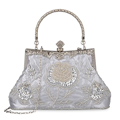 Women's Handbag Vintage Rose Embroidered Beaded Sequin Evening Bag Wedding Party Clutch Purse (Silver)