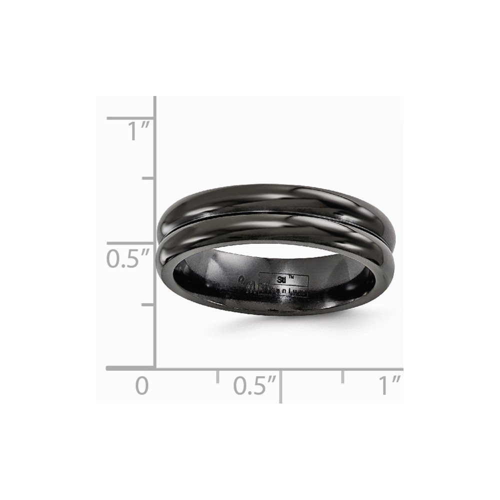 Jewels By Lux Edward Mirell Titanium Black Ti with Grooves 6mm Band