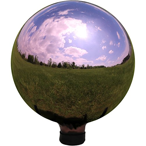 Sunnydaze Rose Gold Mirrored Surface Gazing Ball Globe, 10-Inch