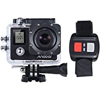 Andoer 4K 30fps/1080P 60fps Full HD 16MP Action Camera Waterproof 30m WiFi 2.0LCD Sports DV Cam Camcorder 170 Degree 4X Zoom Dual Screen Car DVR w/ Remote Control (Black)