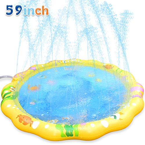 (LUKAT Splash Pad Sprinkler for Kids Outdoor Water Play Mat Toy for Toddlers Boys Girls,Sprinkle and Splash 59 inches Shark Mat)