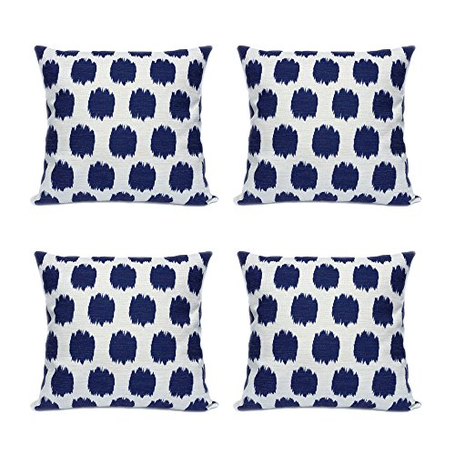 Throw Pillow Covers 4 Pack FanHomcy Navy Blue Dots Decor Couch Cushion Linen Pillow Cases 18 x 18 Inch