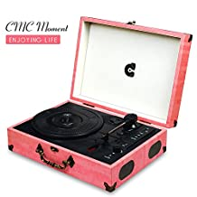 CMC Portable Bluetooth 3 Speed Turntable with Built in Stereo Speakers, Vintage Style Vinyl Record Player, Pink