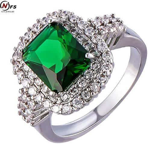 Slyq Jewelry 11ct Emerald Ring White Gold Plated Brand New Style Luxury Wedding Bride Fabulous Vintage Charm Set