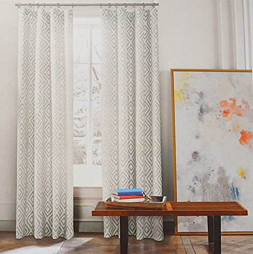 Tommy Hilfiger Diamond Lake Pair of Curtains 2 window panels, 50 by 96-inch Gray Ivory White Grey Aztec Geometric ()