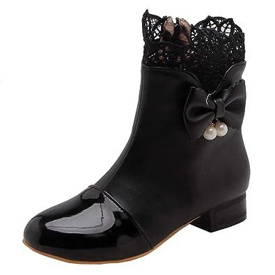 Reißverschluss Ye Damen Boots Schuhe Flache Wärme Stiefel Schleife Ankle Stiefeletten Kurzschaft Mit Rockabilly l1JFKc35uT