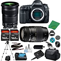 Canon EOS 5D Mark IV Camera with 24-105mm IS STM Lens + Tamron 70-300mm AF + 2pcs 16GB Memory + Camera Case + Card Reader + Professional Tripod + 6pc ZeeTech Starter Set