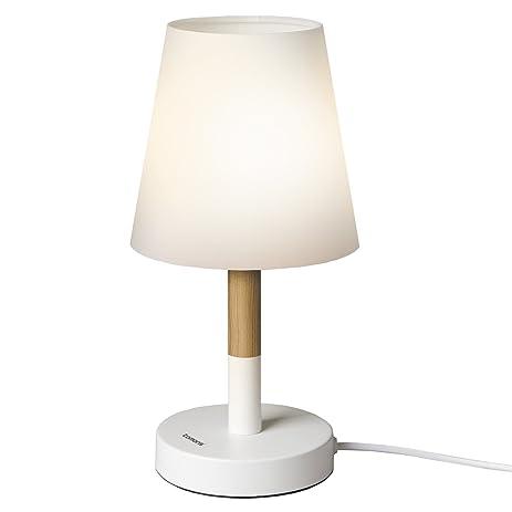 Tomons Bedside Led Table Lamp Dresser Fabric Shade Desk Solid Wood For Bedroom Living