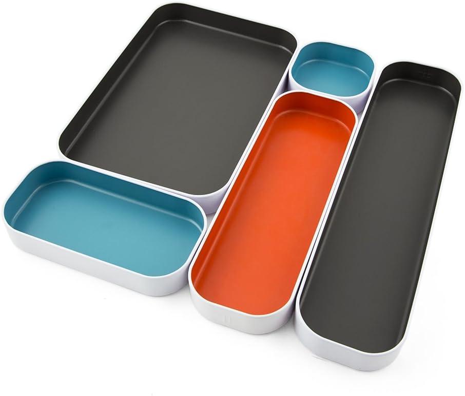 "Three By Three Seattle Drawer Organizer Pack of 5, 1"", Gray/Sky Blue/Orange (52291)"