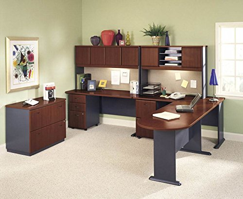 Bush Business Furniture Office Set w Peninsula - Hansen Cherry