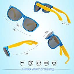 RIVBOS RBK023 Rubber Flexible Kids Polarized Sunglasses Glasses Age 3-10 (Blue)