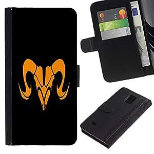 Ihec-Tech / Flip PU Cuero Cover Case para Samsung Galaxy Note 4 SM-N910 - Orange Taurus Sign