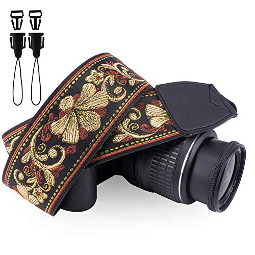 Wolven Vintage Jacquard Weave Camera Neck Shoulder Strap Belt Compatible for All DSLR/SLR/Digital Camera (DC)/Instant Camera/Polaroid etc, Golden Retro Floral