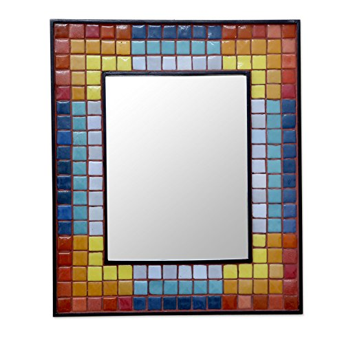 NOVICA Ceramic mosaic wall mirror, Colors in Harmony