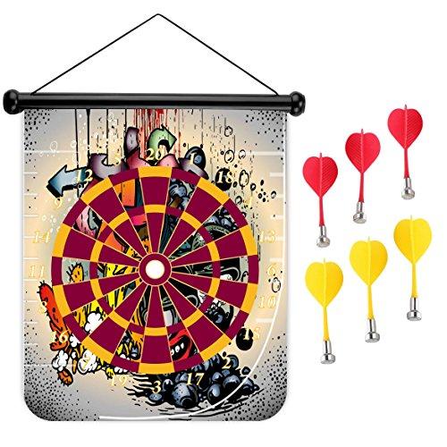 15インチMagnetic Dart Board Double Sided Hanging Dart Board Set and Bullseyeゲーム。グラフィティ1