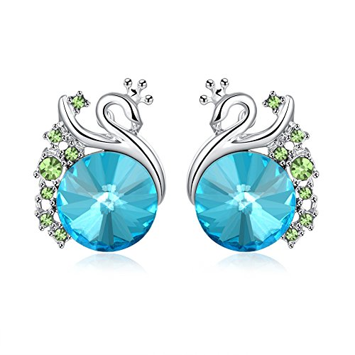 Custom Womens Designer Disney Costumes (iCAREu Platinum Plated Colorful Czechic Diamond Personalized Animal Peacock Stud Earrings for Women,Girls)