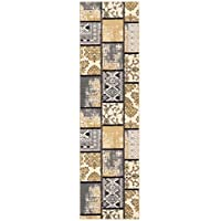 Kapaqua Custom Size Grey Ivory Fancy Patchwork Rubber Backed Non-Slip Hallway Stair Runner Rug Carpet 31 inch Wide Choose Your Length 31in X 10ft