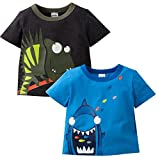 Gerber Graduates Baby Toddler Boys' 2 Pack Short Sleeve Top, Shark/Iguana, 3T