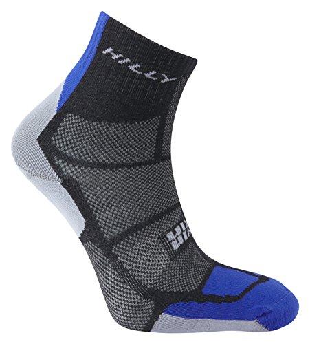 Hilly Men's Twin Skin Anklet Socks, Black/Electric Blue/Grey, Large ()