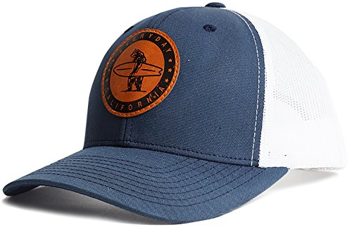 088da44b34dfa Everyday California  Marlin  Snapback Navy Blue and White Surf Hat -  Baseball Style Cap with Vegan Leather Patch