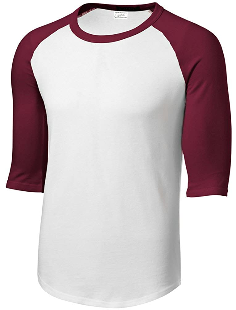 Joe's USA Mens or Youth 3/4 Sleeve 100% Cotton Baseball Tee Shirts-Youth XS to Adult 6X USAL112141105