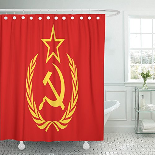 VaryHome Shower Curtain Red Soviet Cccp Symbol Hammer Sickle Star and Wreath Yellow Union Communism Waterproof Polyester Fabric 60 x 72 Inches Set with Hooks