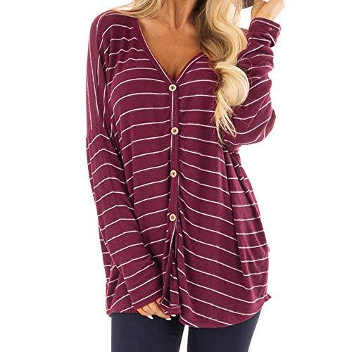 Rayures Stripe VJGOAL d'impression Femmes Blouse Blouse Ample Tunique Longues V Automne Rouge Manches Vin Chemises Gris Bouton Tops Top Femme Cou d5X5xrq
