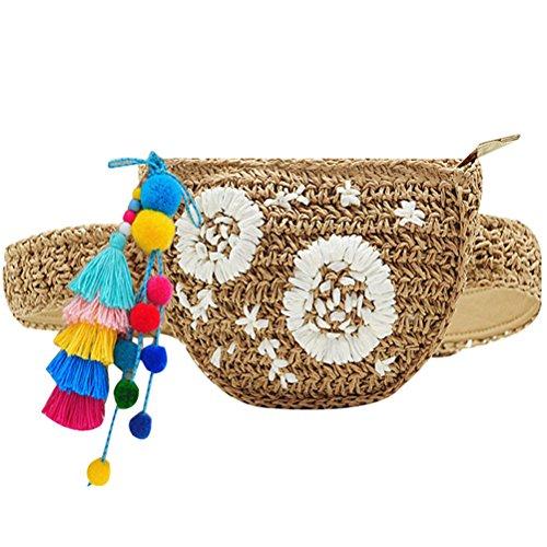 Clutch with Bag Women Bum Bag Ball Embroidered Pt2 Floral Cute Summer Abuyall Straw Beach Bag Waist Pompom Bag Mini pwOZCfq7c
