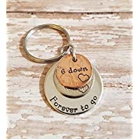 6 Down Forever To Go 2013 Year Nickel and Lucky Penny Key Chain 6th Anniversary Gift