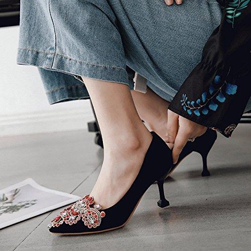 High-heeled Licht Speichel Frauen bohren rote Brautschuhe große Werften für Frauen Speichel singles Schuhe schwarz cad40c
