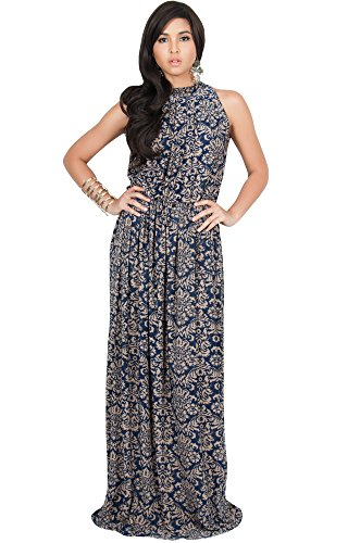 KOH KOH Womens Long Sexy Sleeveless Halter Neck Summer Spring Formal Flowy Print Casual Formal Evening Wedding Guest Gown Gowns Maxi Dress Dresses, Navy Blue and Brown L - Print Gown Halter