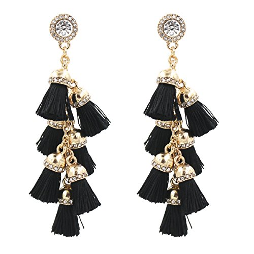 Fashion Jewelry Tassel Earrings w/ Tiered Thread Multi Layered Pendant Dangle Drop Earring (Color 4-Black) Thread Earrings Jewelry