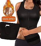 Women Neoprene Body Shaper Sauna Suit Gym Workout Tank Top Vest With Adjustable Waist Trainer Trimmer Belt (Black(Zipper Sweat Shirts), 4XL (US 16))