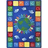 Joy Carpets Kid Essentials Geography & Environment One World Rug, Primary, 7'8'' x 10'9''